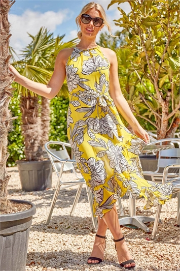 Floral Asymmetric Belted Midi Dress