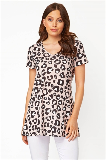 Animal Print Longline Tunic Top