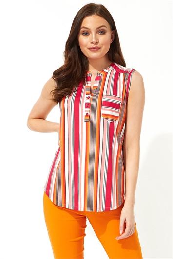 Stripe Print Sleeveless Shirt