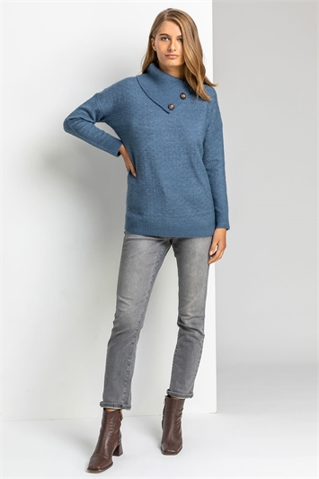 Blue Textured Cowl Neck Button Jumper, Image 1 of 5