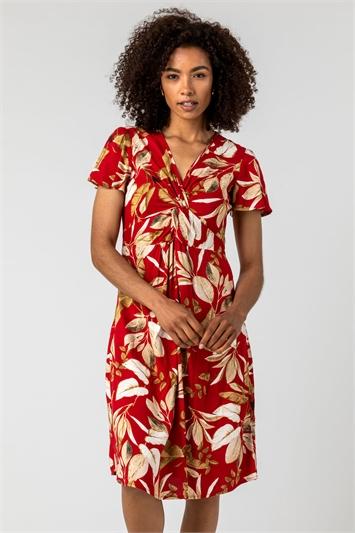 Red Leaf Print Twist Knot Dress, Image 1 of 5