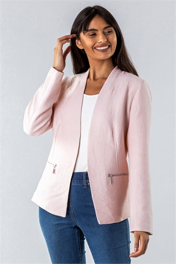 Light Pink Zip Detail Pleated Jacket