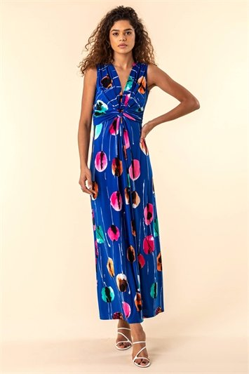 Abstract Floral Print Twist Waist Maxi Dress