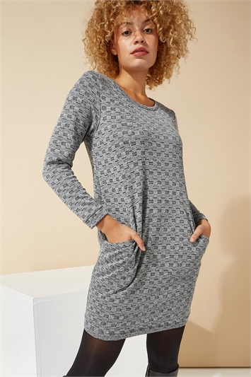 Check Detail Textured Tunic Dress