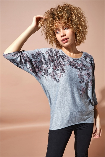 Dipped Hem Floral Batwing Top