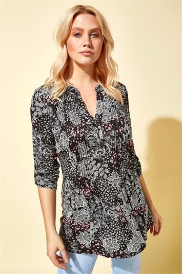 Ditsy Floral Pintuck Shirt