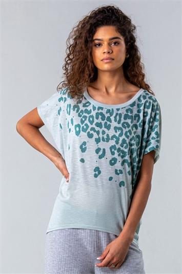 Animal Print Diamante Embellished T-Shirt
