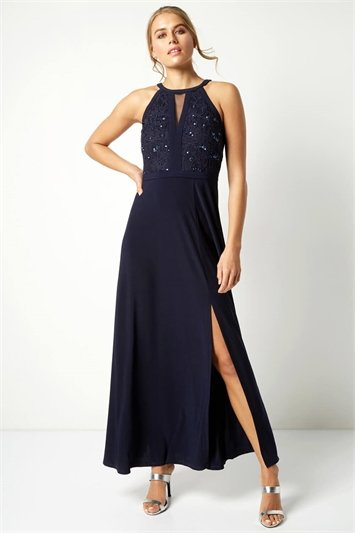 Lace Keyhole Maxi Dress