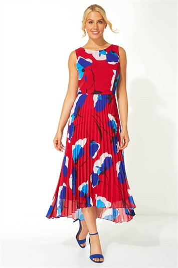 Floral Pleated Fit and Flare Midi Dress