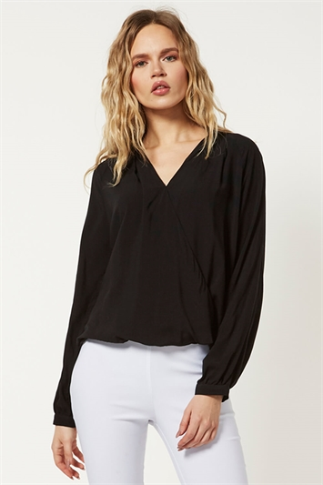 V Neck Wrap Front Top