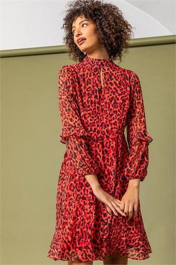 Red Animal Frill Detail Chiffon Dress