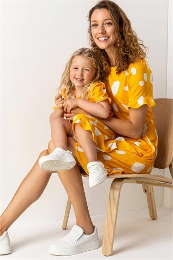 Amber Spot Print Fluted Hem Dress