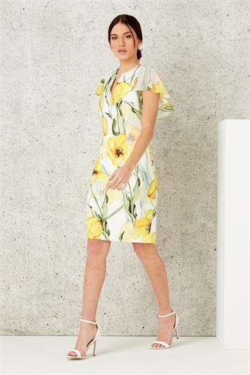Floral Print Chiffon Scuba Dress
