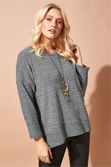 Textured Top with Necklace