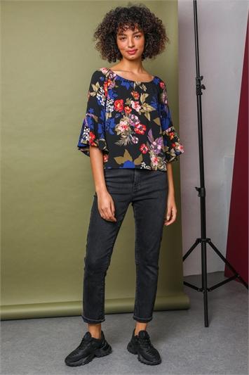Multi Floral Printed Bardot Tunic Top