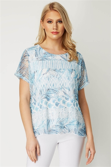 Tropical Print Net Overlay Top