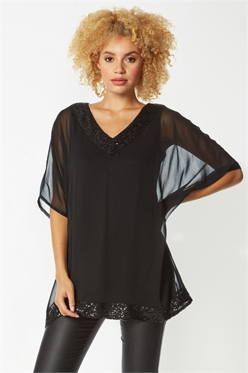 Sequin V-Neck Overlay Top