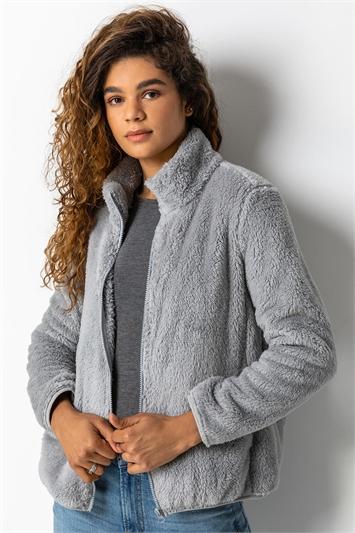 Light Grey Soft Sherpa Fleece Jacket