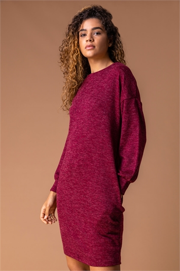 Wine Cocoon Jersey Pocket Dress