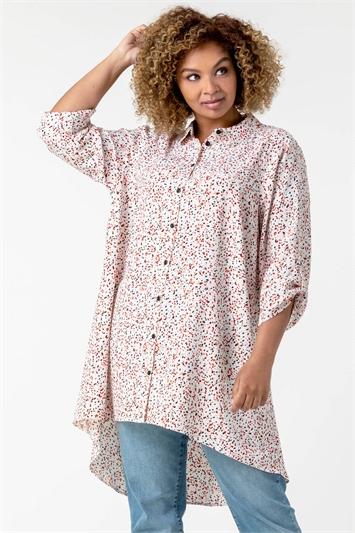 Pink Curve Spot Print Button Shirt