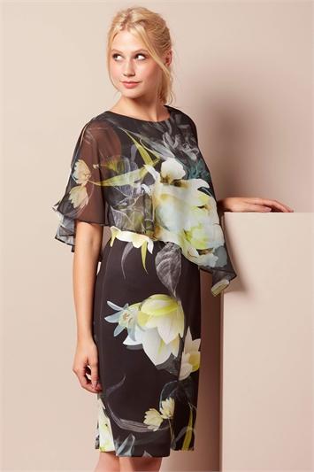 Chiffon Overlay Scuba Dress