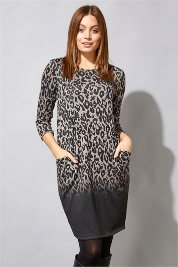 Dark-Grey Animal Print Long Sleeve Ombre Cocoon Dress