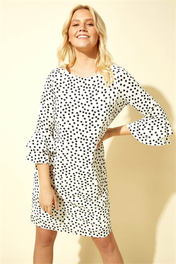 Spot Print Shift Dress