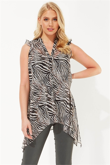 Ruffle Animal Print Blouse