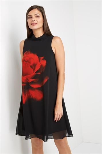 Rose Print Chiffon Dress