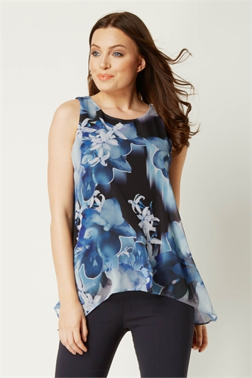 Floral Print Chiffon Overlay Top