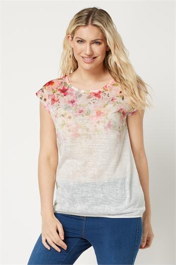 Floral Ombre Bubble Hem T-Shirt
