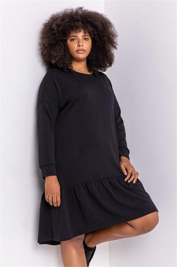 Black Curve Frill Hem Long Sleeve Dress
