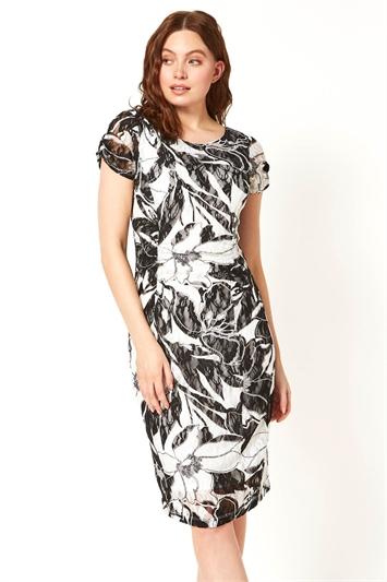 Mono Lace Ruched Dress