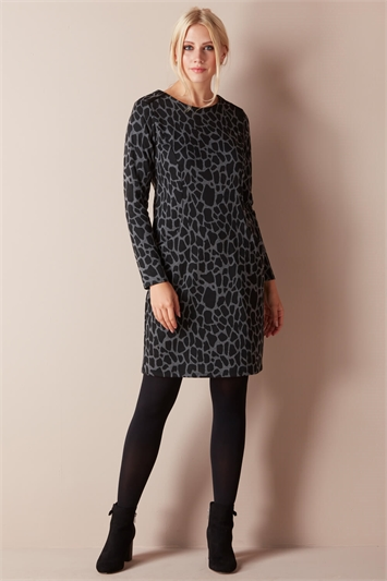 Grey Animal Print Pocket Dress