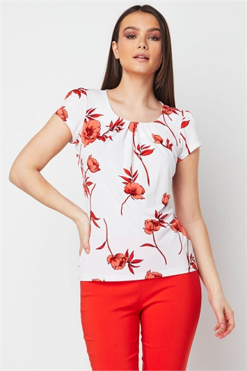 Floral Print Pleated Neck Top