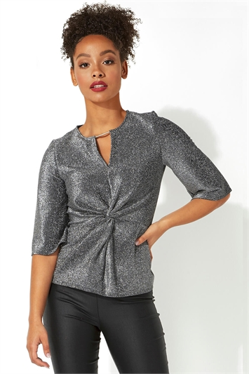 Twist Front V-Neck Glitter Top
