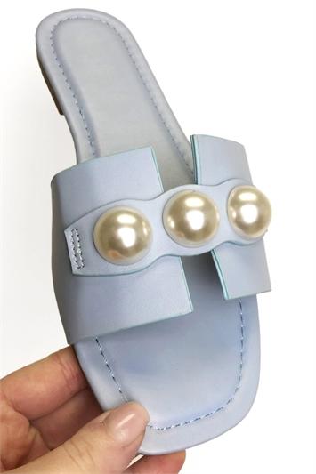 Pearl Detail Sliders Sandals