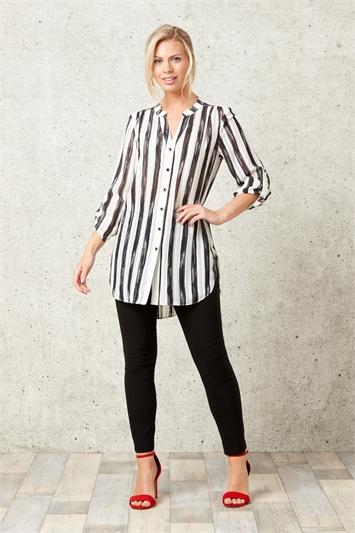 Roll Sleeve Stripe Shirt