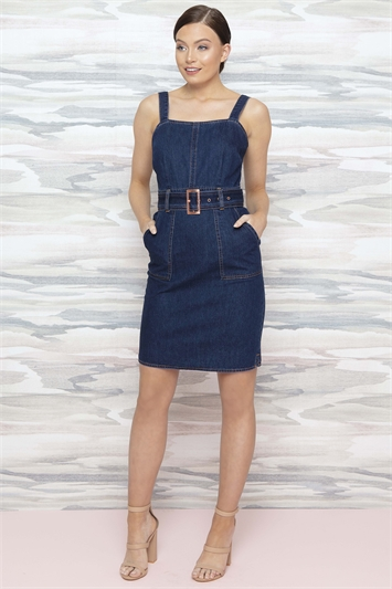 Denim Belted Dress with Pockets