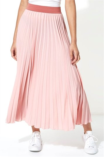 Contrast Band Pleated Maxi Skirt