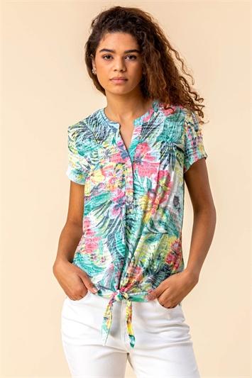 Tie Hem Tropical Print Top