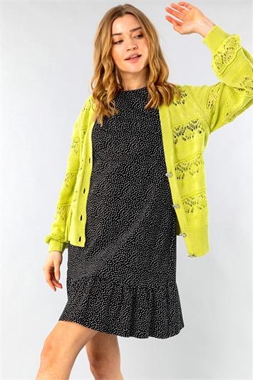 Jewel Button Knit Stitch Cardigan