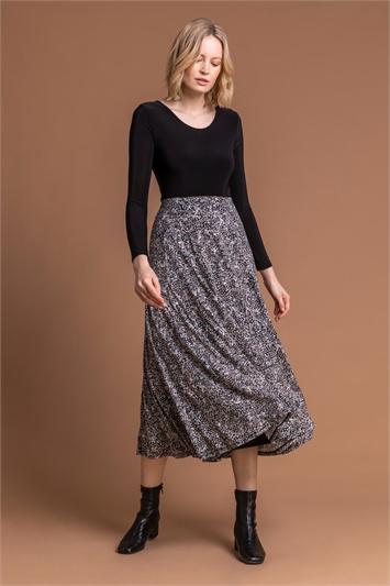 Grey Floral Print Burnout Midi Skirt