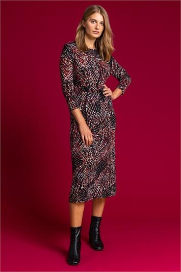 Black D Ring Textured Print Midi Dress
