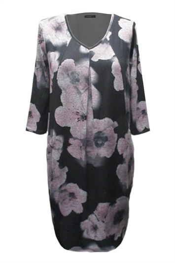 Floral Print 3/4 Sleeve Slouch Dress