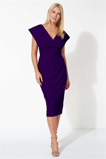Purple Cross Front Midi Dress, Image 1 of 4