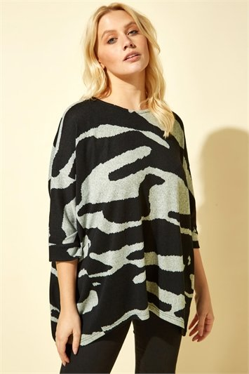 Animal Camo Print Batwing Top