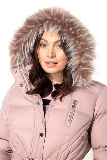 Long Belted Faux Fur Trim Coat