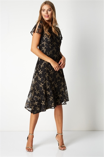Lace Asymmetric Hem Dress