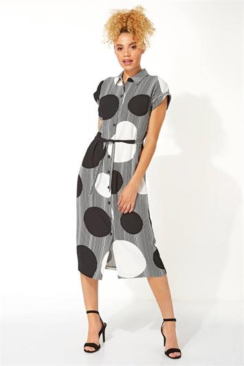 Spot Stripe Print Midi Shirt Dress